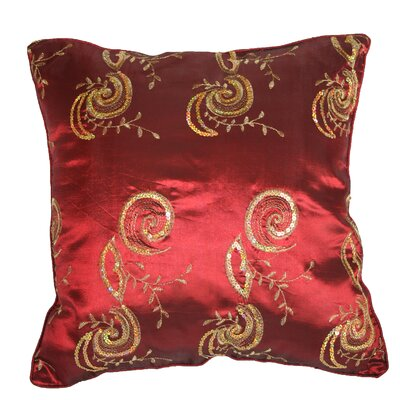 Silky Indiana Embroidered Sequins Decorative Throw Pillow Color: Burgundy