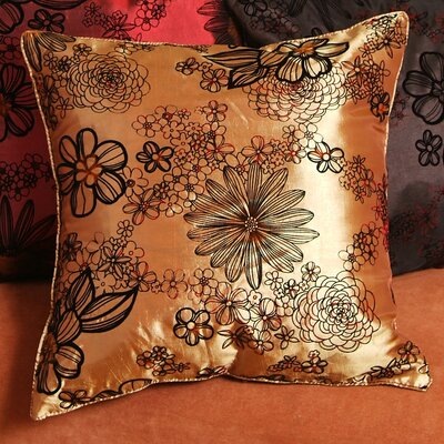 Silky Bloom Design Pillow Cover Color: Gold