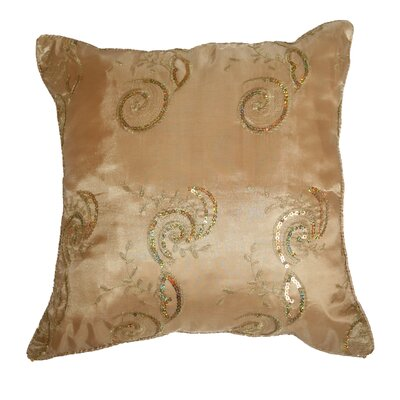 Silky Indiana Embroidered Sequins Decorative Throw Pillow Color: Gold