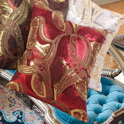 Marvelous Vintage Embroidered Sequins Decorative Throw Pillow Color: Burgundy