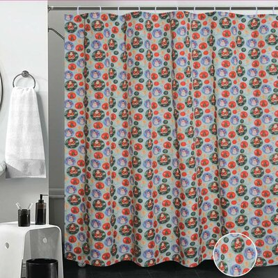 European Christmas Santa Claus Design Printed Shower Curtain
