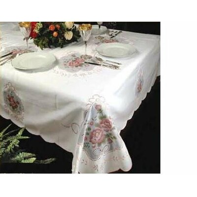Fontainebleau Flower Embroideredred Tablecloth Fontainebleau 4001 BE-2