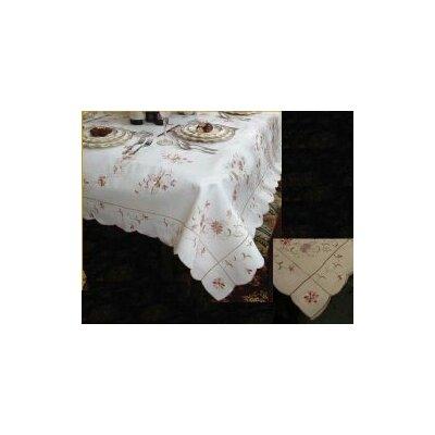 """Violet Linen Renaissance Embroidered Design Tablecloth - Size: 120"""" W x 70"""" D, Color: White"""
