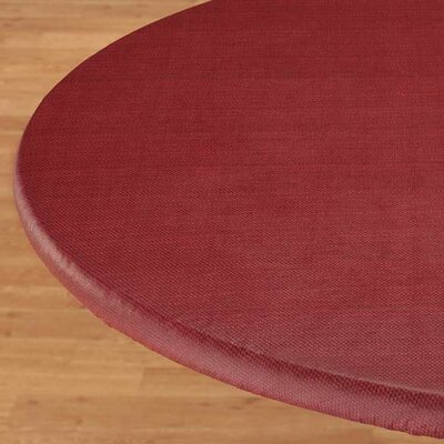 Basketweave Elastic Table Cover Color: Burgundy