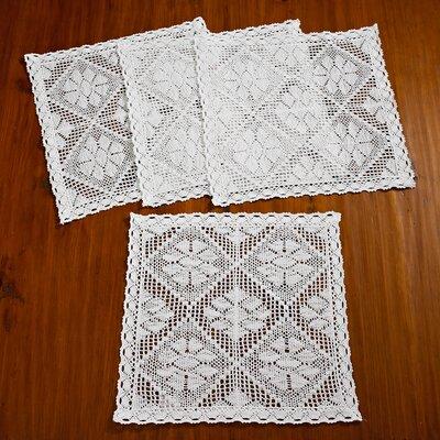 Stars Crochet Vintage Square Doilie Placemat VL Stars-80063 Placemat WH-B