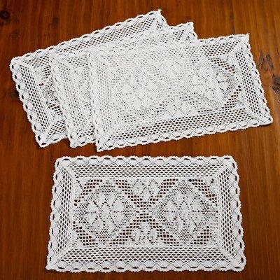 Stars Crochet Vintage Placemat Color: White VL Stars-80064 Placemat WH-C