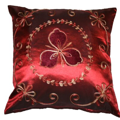 Silky Ornate Embroidered Velvet Floral Design Decorative Cushion Cover Color: Burgundy