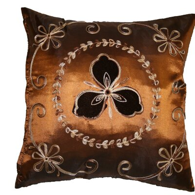 Silky Ornate Embroidered Velvet Floral Design Decorative Cushion Cover Color: Copper
