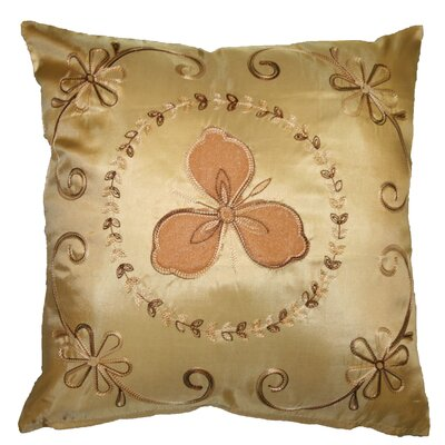 Silky Ornate Embroidered Velvet Floral Design Decorative Cushion Cover Color: Gold