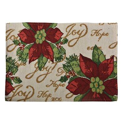 Decorative Christmas Poinsettias Script Tapestry Placemat