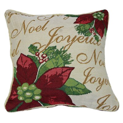 Decorative Christmas Poinsettias Script Design Tapestry Throw Pillow
