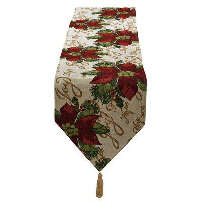 Decorative Christmas Poinsettias Script Design Tapestry Table Runner