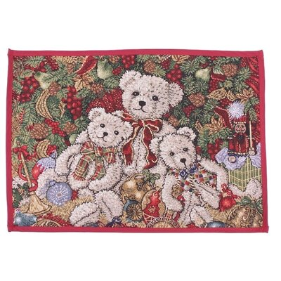 Decorative Christmas Teddy Bears Tapestry Placemat