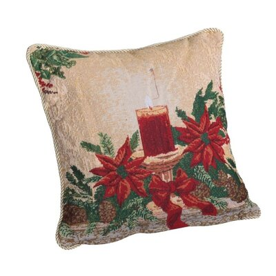 Decorative Christmas Poinsettias Candles Design Tapestry Throw Pillow