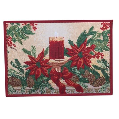 Decorative Christmas Poinsettias Candles Tapestry Placemat