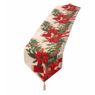Decorative Christmas Poinsettias Candles Design Tapestry Table Runner