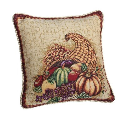 Fall Harvest Cornucopia with Pumpkins and Fruit Pillow Cover