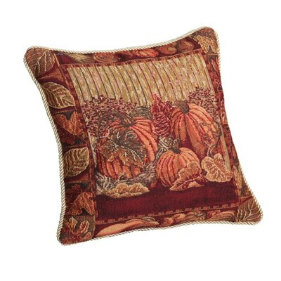 Fall Harvest Pumpkins and Autumn Leaves Throw Pillow