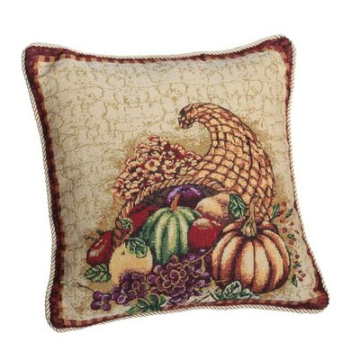 Fall Harvest Cornucopia with Pumpkins and Fruit Throw Pillow