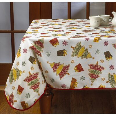 """Gifts and Trees Decorative Christmas Tablecloth Size: 60"""" Round"""