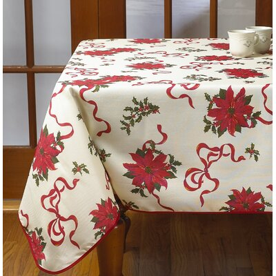 """Decorative Christmas Poinsettias And Bows Design Tablecloths Size: 60"""" Round"""