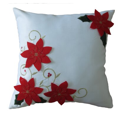 Poinsettias Decorative Christmas with Embroidery Design Throw Pillow Color: White