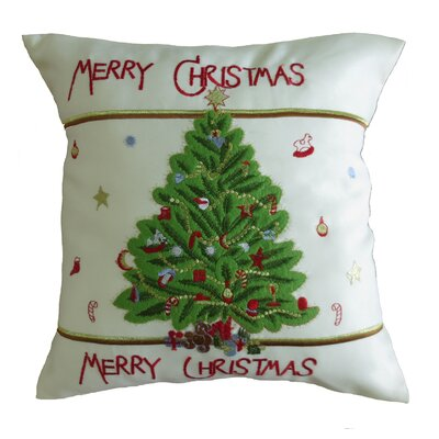 Decorative Embroidered Merry Christmas with Applique Christmas Tree Design Throw Pillow