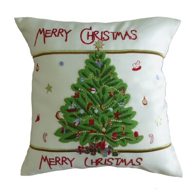 Decorative Embroidered Merry Christmas with Applique Christmas Tree Design Pillow Cover
