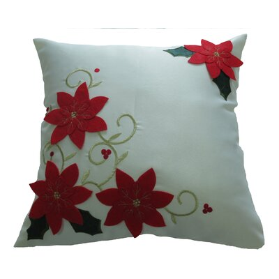 Poinsettias Decorative Christmas with Embroidery Design Throw Pillow Color: Ivory