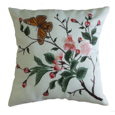 Mante Carlo Decorative Embroidered Butterfly Design Fine Burlap Throw Pillow
