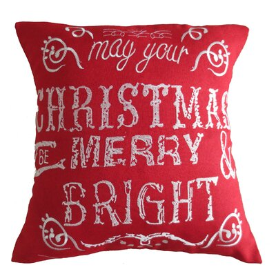 Christmas Greeting Decorative Embroidered Burlap Pillow Cover