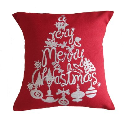 Christmas Greeting Decorative Embroidered Burlap Throw Pillow