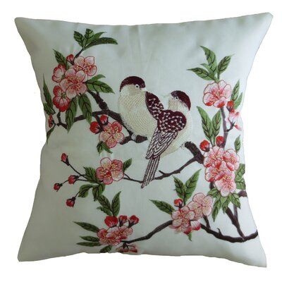 Mante Carlo Decorative Embroidered Bird Design Fine Burlap Pillow Cover