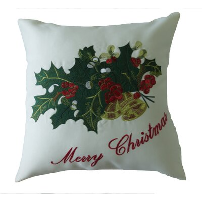 Decorative Embroidered Merry Christmas with Applique Holly and Berries Design Throw Pillow