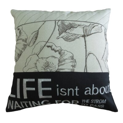 Inspirational Quote Decorative Embroidered Print Burlap Pillow Cover