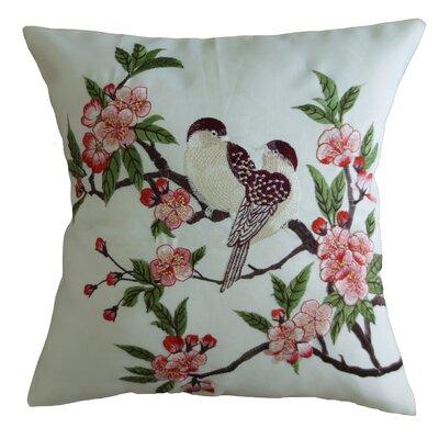 Mante Carlo Decorative Embroidered Bird Design Fine Burlap Throw Pillow