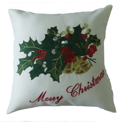 Decorative Embroidered Merry Christmas with Applique Holly and Berries Design Pillow Cover