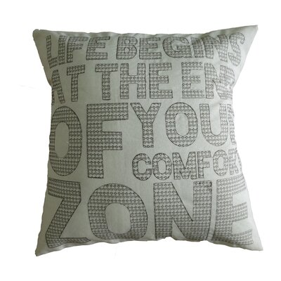 Inspirational Quote Decorative Embroidered Print Burlap Throw Pillow