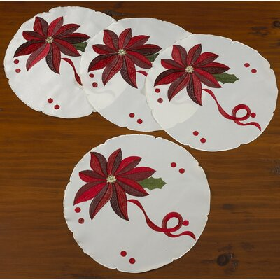 Bloomy Decorative Christmas Embroidered Poinsettias Design Placemat
