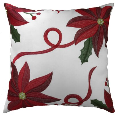 Bloomy Decorative Christmas Throw Pillow Cover Color: White