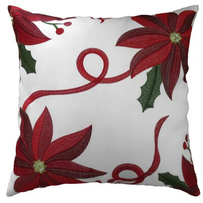 Bloomy Decorative Christmas Throw Pillow Color: White