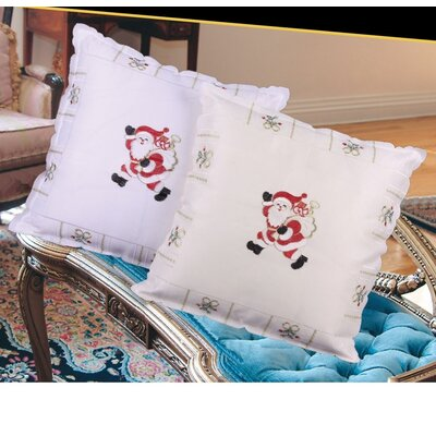 Walking Santa Throw Pillow Color: Ivory