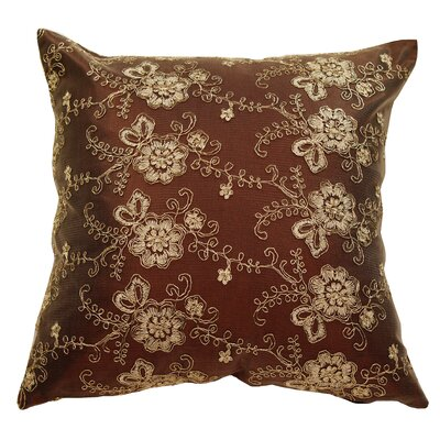 Swiss Vintage Embroidered Flowers Pillow Cover Color: Brown