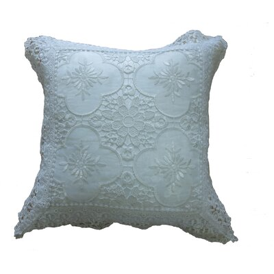 Braided Luxurious Decorative Lace Cutwork Throw pillow Color: White