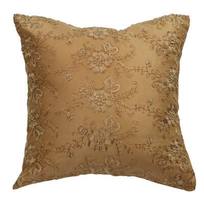 Swiss Vintage Embroidered Flowers Pillow Cover Color: Gold