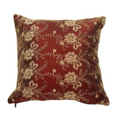 Swiss Vintage Embroidered Flowers Pillow Cover Color: Burgundy