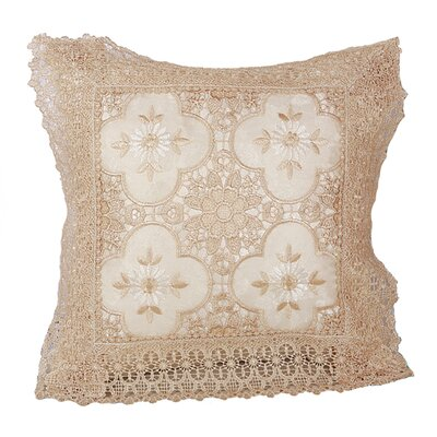 Braided Luxurious Decorative Lace Cutwork Pillow Cover Color: White