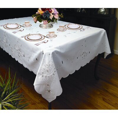 Violet Linen Rivierra Embroidered Design Tablecloth - Size: 140