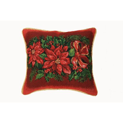 Christmas Poinsettia Design Throw Pillow