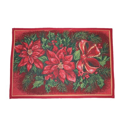Seasonal Poinsettia Design Red Novelty Rug Rug Size: 17 x 23